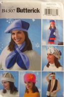 Butterick B4307 Misses Fleece Hats and Scarves
