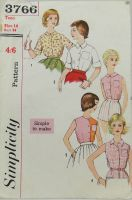 """Simplicity 3766 """"Simple to Make"""" Teen Blouse"""